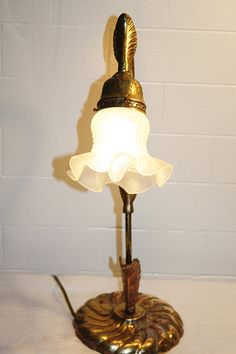 Vintage Solid Brass Table Lamp Goose Neck By QUEENIESECLECTIC Brass Lamp,  Brass Table Lamps,