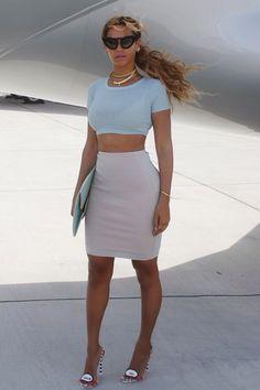 Beyonce: crop top and pencil skirt