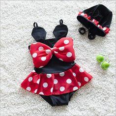 b0f4597664f63 2016 New Girls Swimwear Cute Dot Bow Girl Swimsuit 2 6y Little Girl Bathing  Suits Wholesale