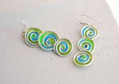 Sterling Silver Spiral Earrings in Electric Blue Lime Green, Dangle Artisan Earrings