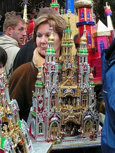 Szopka krakowska-Polish crib made from card and paper exhibited in the main square in Krakow Poland