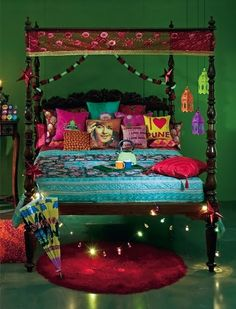 Indian ethenic style for bedroom   Via An Indian Summer: Elle Decor India - Collector's Copy