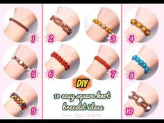 Today I want to show you 10 easy macrame bracelet ideas for beginners, using only square knots. All the bracelets are made with Korean waxed . Macrame Bracelet Diy, Macrame Bracelet Patterns, Diy Friendship Bracelets Patterns, Bracelet Knots, Bracelet Crafts, Macrame Jewelry, Macrame Earrings, Cord Bracelets, Macrame Tutorial