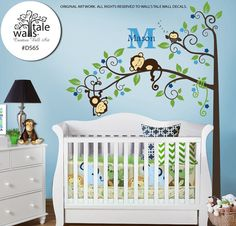 Boy Jungle Monkey Wall Decal with one baby owl for nursery decor. Two Monkeys Tree branch wall decal Grey Nursery Boy, Nursery Room, Baby Room, Nursery Decor, Nursery Ideas, Tiger Illustration, Juegos Baby, Baby Girl Wallpaper, Baby Owls