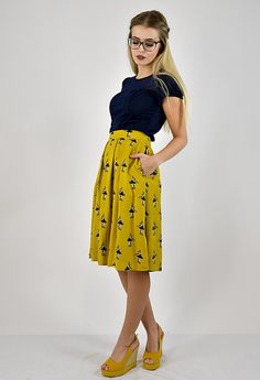 Midi Rock mit Ballerina Print in sommerlichem Gelb / summerly yellow skirt with ballerina print made by Cyroline via DaWanda.com