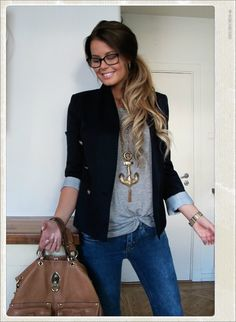 A plain tee paired with a black blazer--classic cute