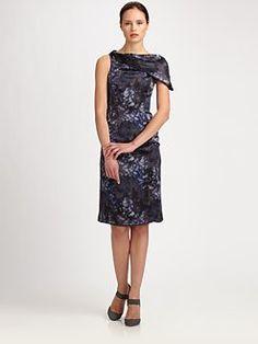 Armani Collezioni - Drape Collar Print Dress