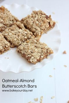 Oatmeal Almond Butterscotch Bars | Bake Your Day