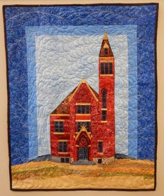 art quilt, Historic Stutsman County Courthouse located in Jamestown, ND by Amy Munson, 2015