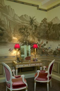 Cabriolet Medaillon chairs upholstered in raspberry silk velvet fabric Silk Wallpaper, Hand Painted Wallpaper, Pattern Wallpaper, Scenic Wallpaper, Beautiful Wallpaper, Interior Exterior, Interior Design, Grisaille, Chinoiserie