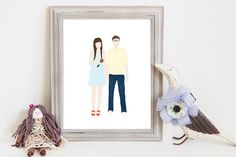 Custom couple portrait // the perfect wedding or anniversary gift! // #gift #wedding #giftonabudget #love // $65.00