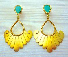 Big Earrings, Gold Drop Earrings, Turquoise Earrings, Greek Jewelry, Vintage Hippie, Inspirational Gifts, Modern Jewelry, Statement Jewelry, Gifts For Women