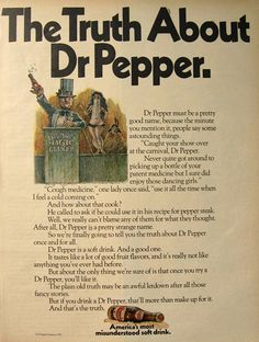 "'America's Most Misunderstood Soft Drink""    1970 Vintage Dr. Pepper Soda Ad ~ The Truth About Dr. Pepper"