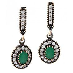 Turkish Vintage Emerald Earrings