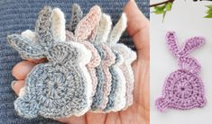 Bunnies are in season, and we need MORE! You can put these on clothing, accessories, on the table or just about anywhere. It is also a great wall hanger or a Tatting Patterns, Lace Patterns, Crochet Patterns, Applique Patterns, Crochet Ideas, Crochet Bunny Pattern, Crochet Rabbit, Quick Crochet, Free Crochet