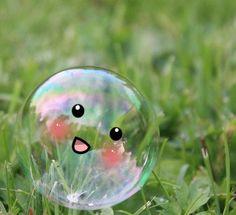 Kawaii bubble discovered by SugarCrush on We Heart It Make You Cry, Make Me Smile, How To Make, Art Kawaii, Sooo Kawaii, Kawaii Shop, Single And Happy, My Bubbles, Soap Bubbles