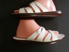 AZALEIA White LEATHER Strappy FLAT Ladies SANDAL Size 9.5 M = Free USA Shipping #AZALEIA #Strappy