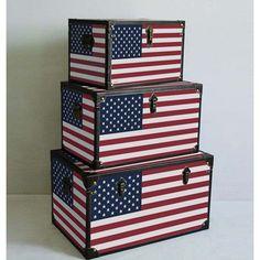 Screen Gems Furniture Americana Decorative Trunks - Set of 3 - SGT01