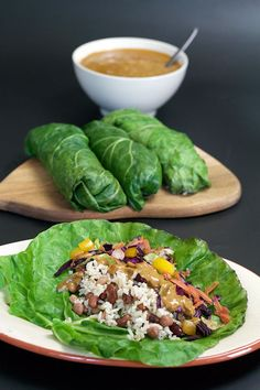 GREEN WRAPS WITH SATAY, RICE & BEANS