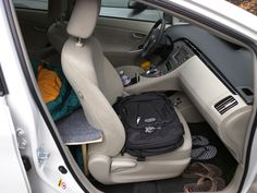 Backpack on the passenger seat.