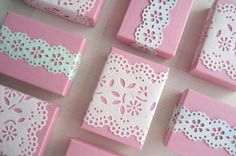 paper lace wrapped favor boxes