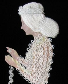 Tatting Princess, a group project from the idea developed by Dinah Craig and Jennifer Williams and worked by members of the Cardiff Picot tatting group.