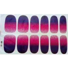 Set of 6 Stylish Bright Gradient Glittery Nail Art Stickers, M110 ** Be sure to check out this awesome product.