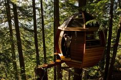 """The HemLoft Treehouse (Whistler, Canada)  After retiring at the age of 26, software developer Joel Allen became a carpenter and fulfilled his dream of """"building something cool"""". Kind of an understatement"""