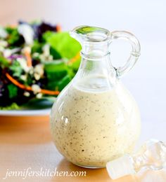 Very Healthy Creamy Italian Salad Dressing Recipe. No mayo! (uses cashews to make it creamy). Add actual nutrients with your salad dressing! Creamy Italian Salad Dressing Recipe, Salad Dressing Recipes, Fat Free Italian Dressing Recipe, Creamy Basil Dressing, Low Fat Salad Dressing, Gluten Free Salad Dressing, Salad Recipes, Raw Food Recipes, Cooking Recipes