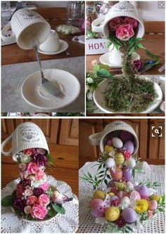 Cup suspended with cascading flowers etc. Cup suspended with cascading flowers etc. Easter Crafts, Holiday Crafts, Easter Decor, Easter Ideas, Homemade Crafts, Diy And Crafts, Party Table Centerpieces, Easter Centerpiece, Cup And Saucer Crafts