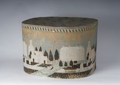 """""""Wesleyan University"""" large wallpaper covered hat box with scenes of buildings"""