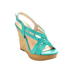 Women's Da Viccino Beach-120 Wedge Sandal - Jade Casual ($50) ❤ liked on Polyvore featuring shoes, sandals, jade, wedges shoes, strappy wedge sandals, adjustable strap sandals, slingback shoes and platform sandals