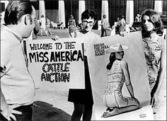 Second wave feminism. This is a snapshot of when feminists opposed the Miss America Pageant in 1968.