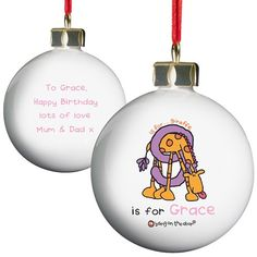 Personalised Bang on the Door Animal Alphabet Girls Bauble  from Personalised Gifts Shop - ONLY £10.99