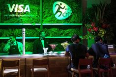 Visa's Everywhere lounge was open for the duration of the Rio Olympic games in Copacabana this summer, overlooking the beach volleyball stadium. Lush green decor decked out the look.  Photo: Mauro Pimentel