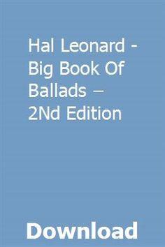 Hal Leonard - Big Book of Ballads – Edition Deep, Big, Books, Space, Floor Space, Libros, Book, Book Illustrations, Libri