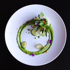 Poached pear asparagus garden with watercress by dashofsaltplating on IG #plating #gastronomy