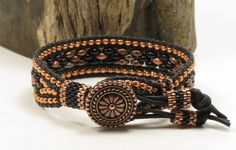 SINGLE WRAP LEATHER Bracelet-Black And Copper SuperDuos-Peyote Tubes-Black Leather-Toho Seed Beads-Boho-Chic-Hippie-Leather Cuff-(SW20) by CinfulBeadCreations on Etsy