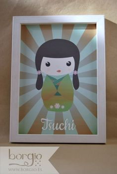 """Tsuchi, de la colección """"Elemental Kokeshi"""" Disponible en: http://www.borgio.es/laminas-infantiles/"""