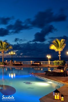 Sandals Royal Bahamian pool by night.