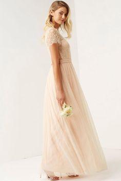 Little Mistress Nude Lace Overlay Maxi Dress