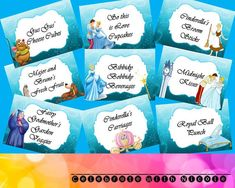 Cinderella Food Labels by CelebrateWithNicole on Etsy