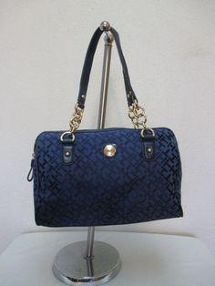 Tommy Hilfiger Handbag Satchel 6925747 478 Color Blue Gold Retail Price $79.00 #TommyHilfiger #Satchel