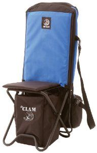 Clam Chair - A convenient, comfortable ice fishing Chair that doubles as a rod case and gear bag!