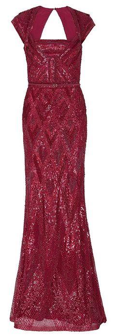 Elie Saab Cap Sleeve Beaded Gown in Red
