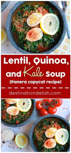 Lentil, Quinoa, and Kale Soup {Copycat Panera recipe}   Destination Delish