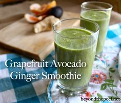 Grapefruit Avocado Ginger Banana Smoothie www.beyondthepeel.com