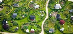 Runde Haver (Round Gardens) in Nærum, Denmark. The Round Gardens in Nærum were originally planned by the renowned garden architect C. Sørensen in Photo: Henrik Schurmann Allotment Gardening, Allotment Design, Garden Architecture, Urban Planning, Hedges, Garden Planning, Land Scape, Garden Inspiration, Garden Landscaping