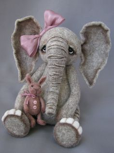 Needle Felted Elephant with little bunny doll by Nichole Encinas at blueberrycreations.com