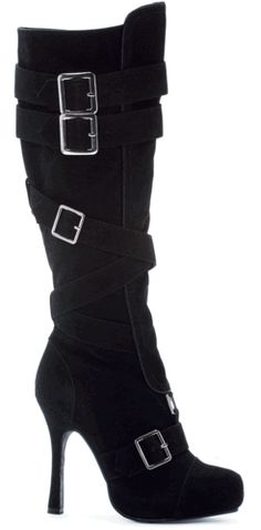 Knee High Boot With Buckles in Black